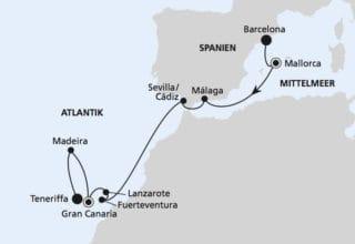 AIDAnova: Von Barcelona nach Teneriffa / ©AIDA Cruises