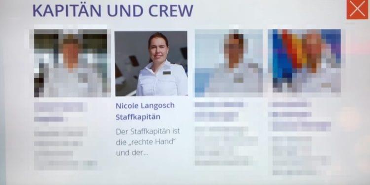 Nicole Langosch als Staff-Kapitänin an Bord der AIDAprima unter Detlef Harms