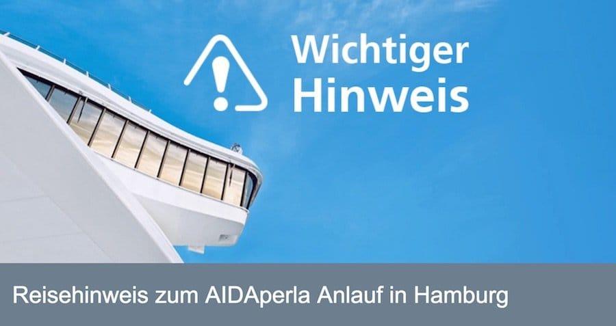 AIDAperla kommt nicht in den Hamburger Hafen rein - dieser wurde gesperrt