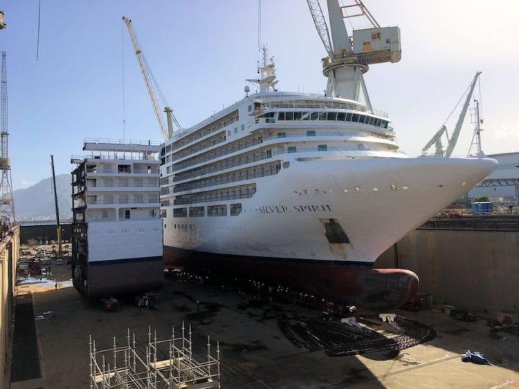 15 Meter Verlängerung auf der Werft in Palermo für die Silver Spirit / © Silversea Cruises