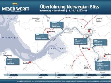 Überführungsplan auf der Ems für die Norwegian Bliss / © Meyer Werft