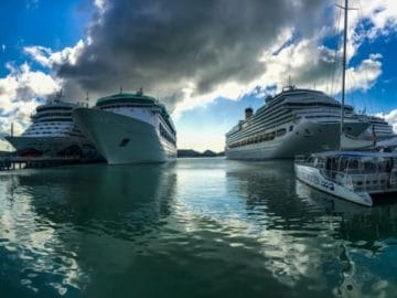 AIDAdiva, Grandeur of the Seas, Costa Pacifica & MSC Opera in St. John's Antigua
