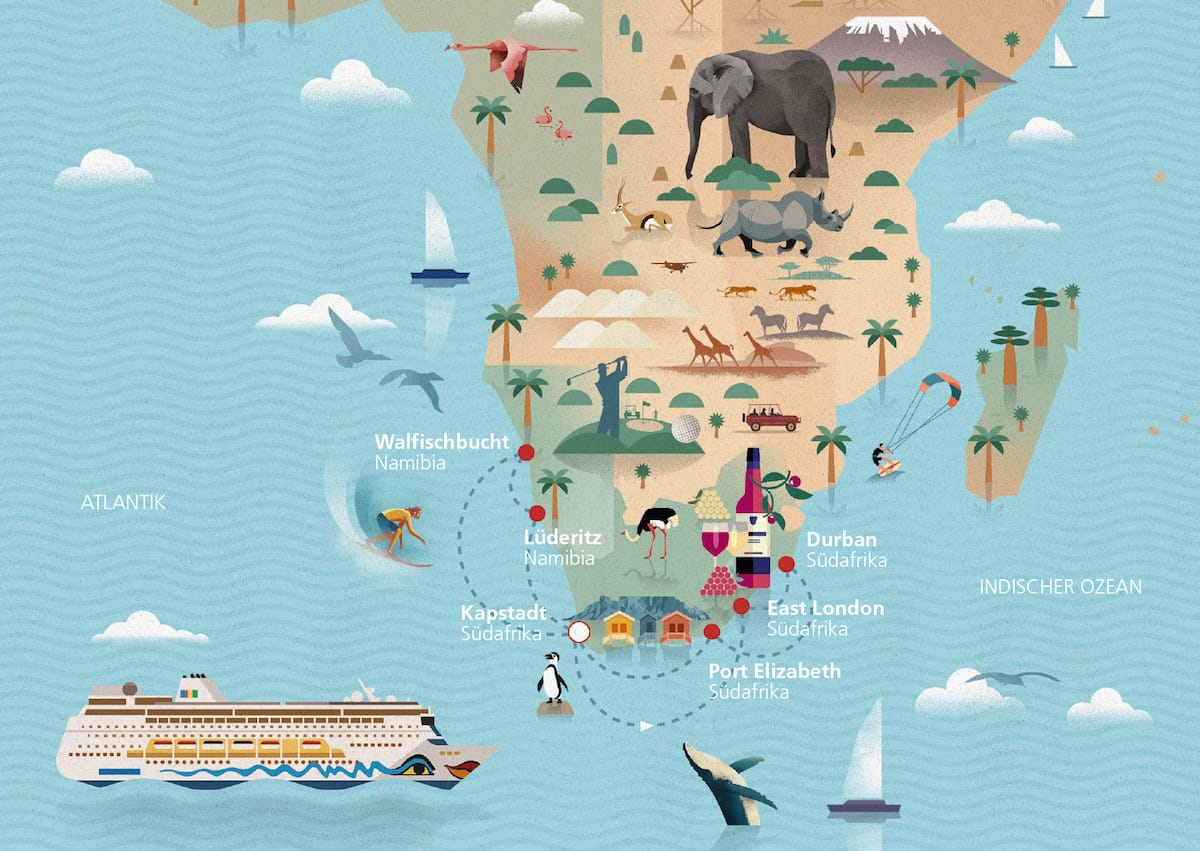 Südafrika & Namibia Route mit AIDAmira / © AIDA Cruises