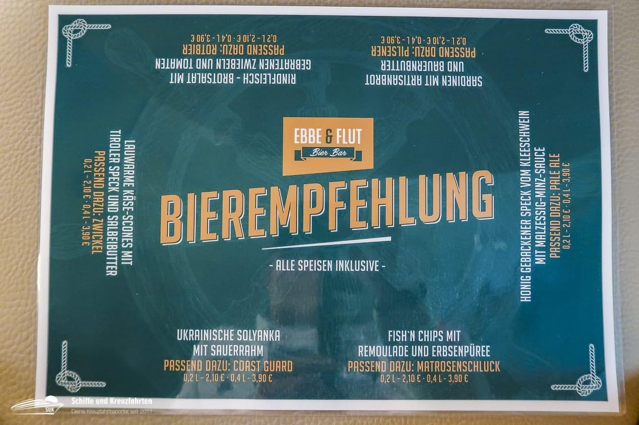 Speisekarte mit Bierempfehlung der Ebb & Flut Bar