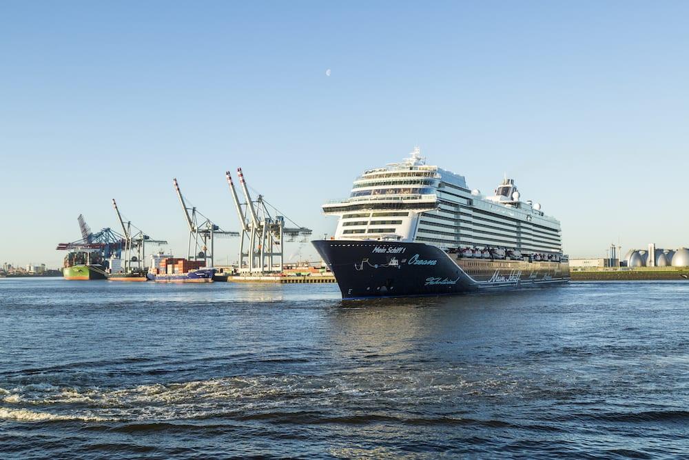 Neue Mein Schiff 1 kam heute das erste Mal in den Hamburger Hafen / © TUI Cruises