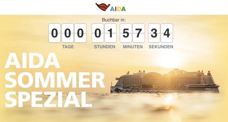 AIDA Sommer Spezial Angebote ab 599 Euro