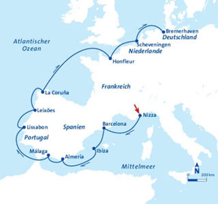 MS Berlin Routenbild / ©FTI Cruises