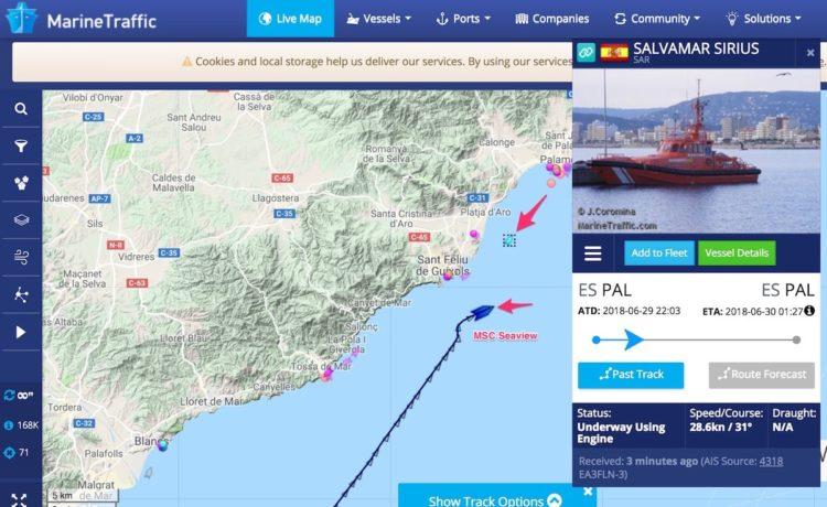 MSC Seaview - medizinische Notausschiffung auf dem Weg nach Marseille / © Marinetraffic.com (Screenshot)