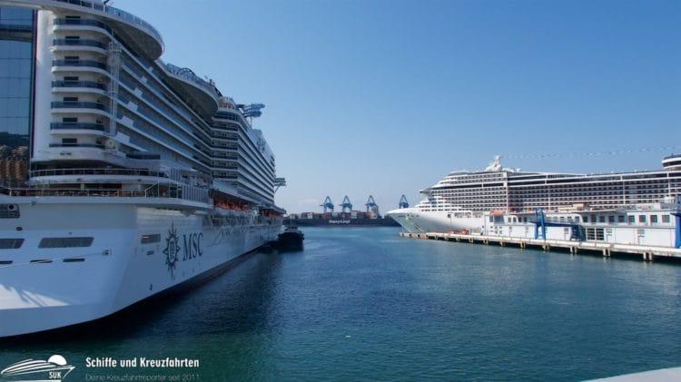 MSC Seaview und MSC Fantasia in Genua