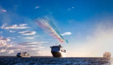 Spektakuläre Flug-Show der RAF Red Arrows über den drei Cunard Queens in Southampton