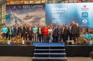 Kiellegung der Crystal Endeavor mit Angela Merkel / © MV Werften