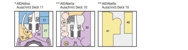 AIDAbella - AIDAdiva - AIDAluna: Deck Besonderheiten © AIDA Cruises