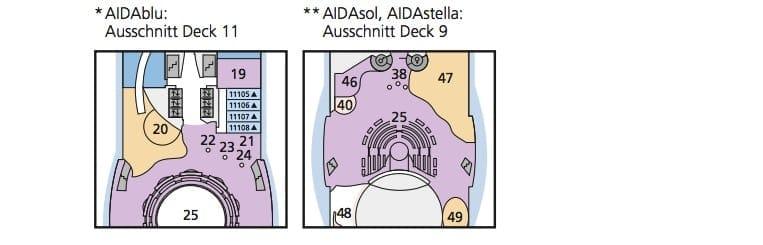 AIDAsol - AIDAblu - AIDAmar - AIDAstella Deckplan Besonderheiten © AIDA Cruises