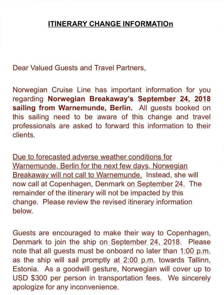 Umroutung der Norwegian Breakaway - Gästeschreiben