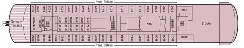 MS Deutschland Deckplan Deck 8 / ©Phoenix Reisen