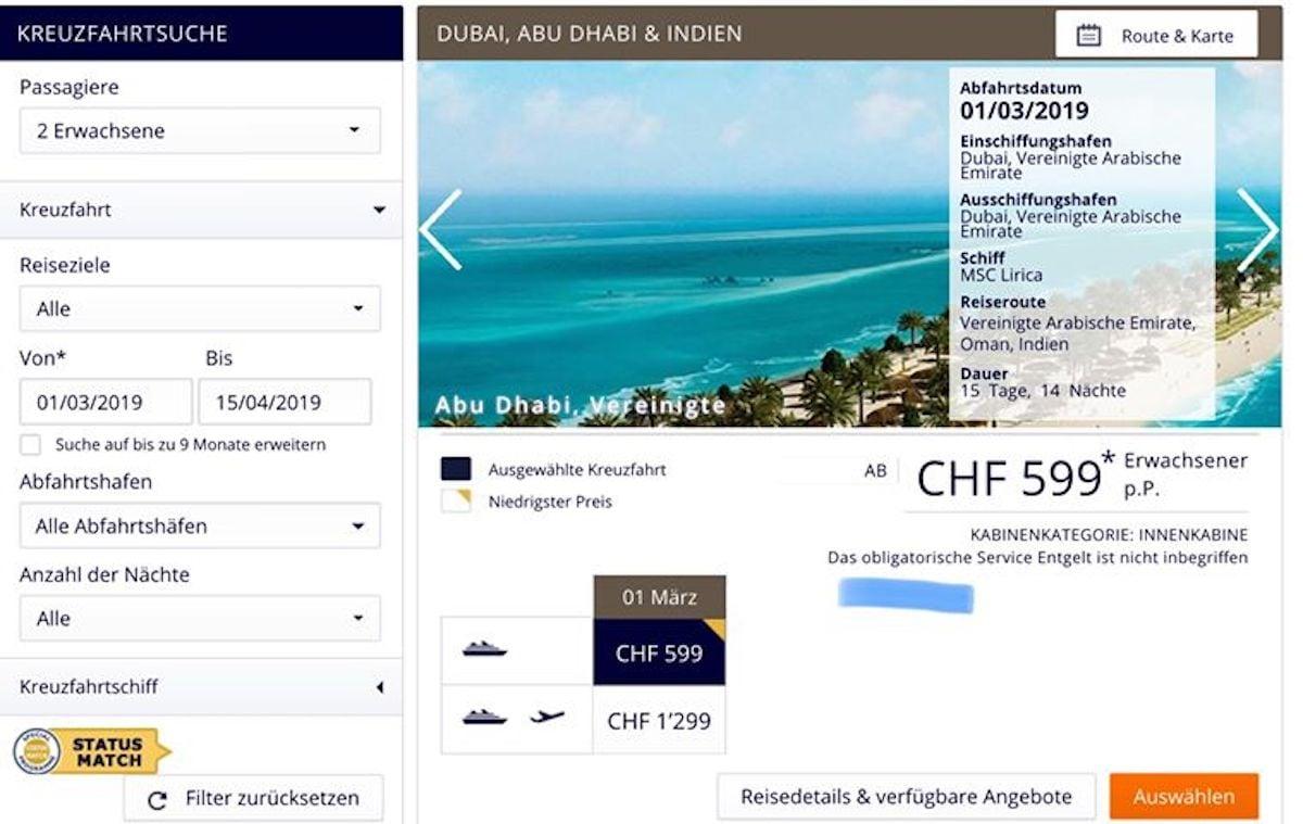 MSC Kreuzfahrten Schweiz hat das Serviceentgelt auch geändert - es kann weder storniert noch geändert werden / © MSC Kreuzfahrten