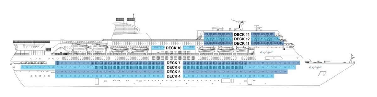 Deckplan der MV Narrative der extrem stark nach Costa neoRomantica aussieht / © Storylines.com