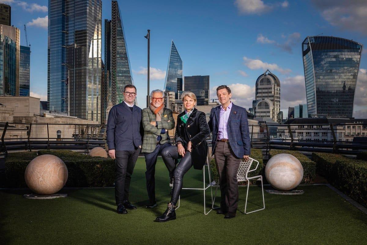 Das Cunard Design-Team von links nach rechts: Simon Rawlings, Adam Tihany, Sybille de Margerie and Terry McGillicuddy / © Christopher Ison für Cunard