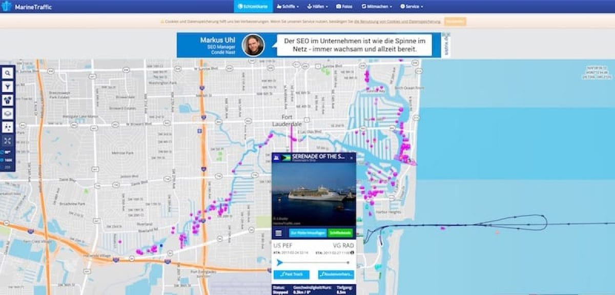 Medizinischer Notfall auf der Serenade of the Seas - das Schiff von Royal Caribbean musste nach etwa 15 Seemeilen nach dem heutigen Start der Kreuzfahrt wieder zurück in den Hafen von Fort Lauderdale fahren / © Marinetraffic.com