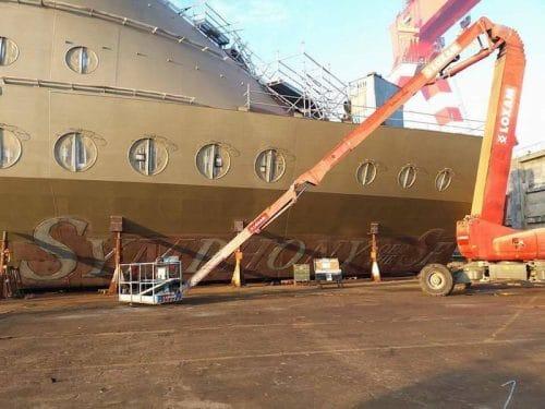 Symphony of the Seas im Bau auf der STX Werft in Saint Nazaire