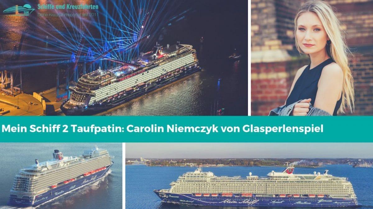 Carolin Niemczyk von Glasperlenspiel tauft die neue Mein Schiff 2