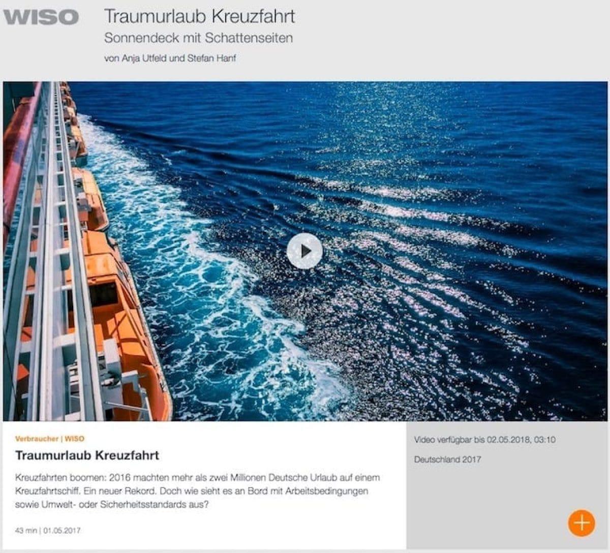 """""""Traumurlaub Kreuzfahrt"""" - ZDF Wiso Beitrag / © ZDF"""
